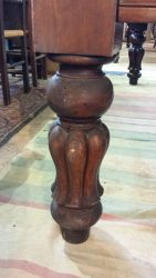 A 7ft antique snooker table with tulip legs, in mahogan