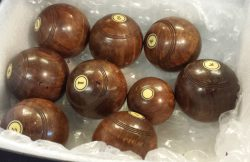 8 antique billiard bowls and jack