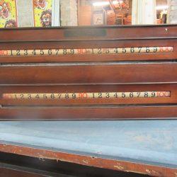 E Mawson Leeds antique snooker scoreboard.