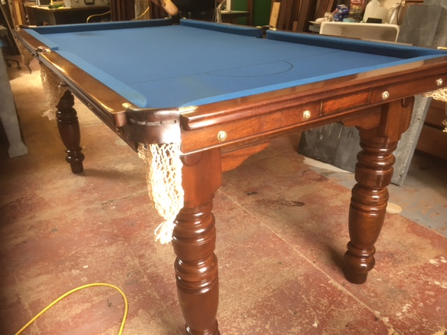 Riley 6ft antique snooker table with slate blue cloth
