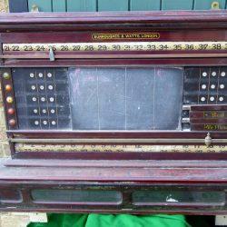 b766 burroughes & watts antique life pool mahogany scoreboard