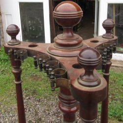 Orme antique revolving cue stand in mahogany