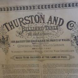 Thurston framed antique billiards rules