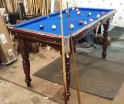 5ft antique pool table with blue cloth by Riley