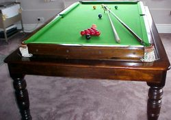 Rollover convertible snooker dining table, 7ft mahogany