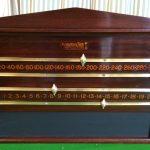 Burroughes and Watts Art Deco mahogany antique snooker scoreboard